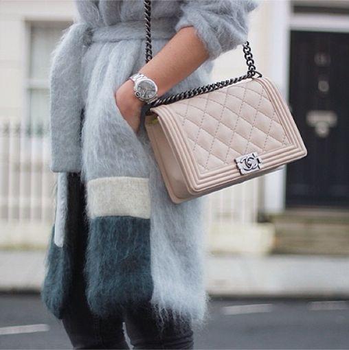 Baby blue wool coat & Chanel Boy bag #StreetStyle