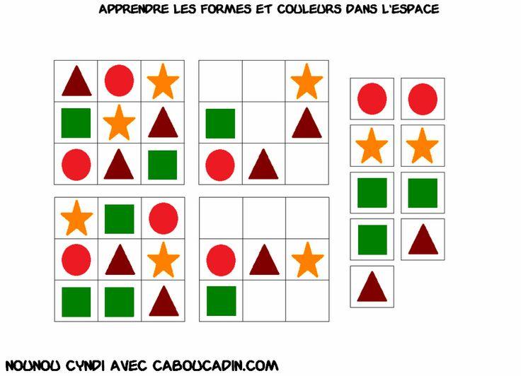 apprendre les couleur et à se repérer dans l'espace en classe de maternelle avec des fiches  plus de fiches sur http://www.caboucadin.com/apprendre-couleur-espace.php
