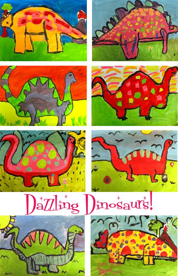 dinosaur, 2nd Grade, 3rd Grade, Watercolor, background, overlapping shapes