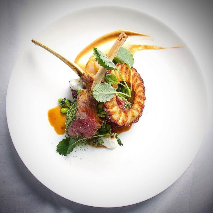 Smoked rack of lamb, aubergine, immature soybeans, pomme maxim, riata, goat jus by @malkie__  FOLLOW @cookniche for Culinary inspirations  Create a culinary blog for free and publish your photos, recipes, blogs; and be a part of the international culinary scene Cookniche.com/Register