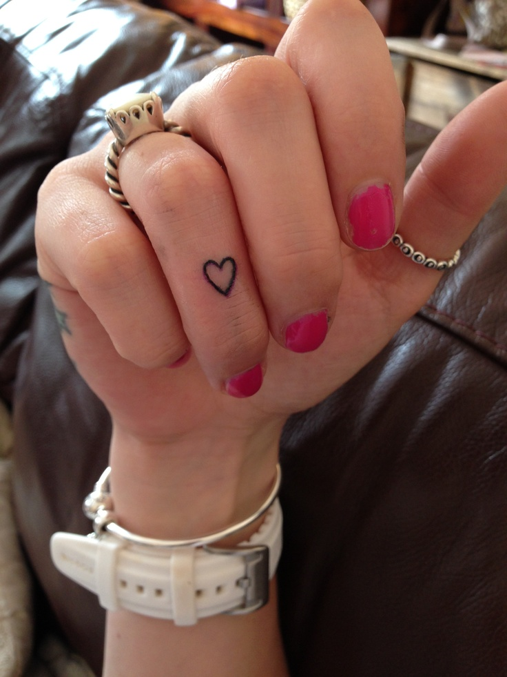 Heart finger tattoo. I like this placement. It won't distract from the ring!