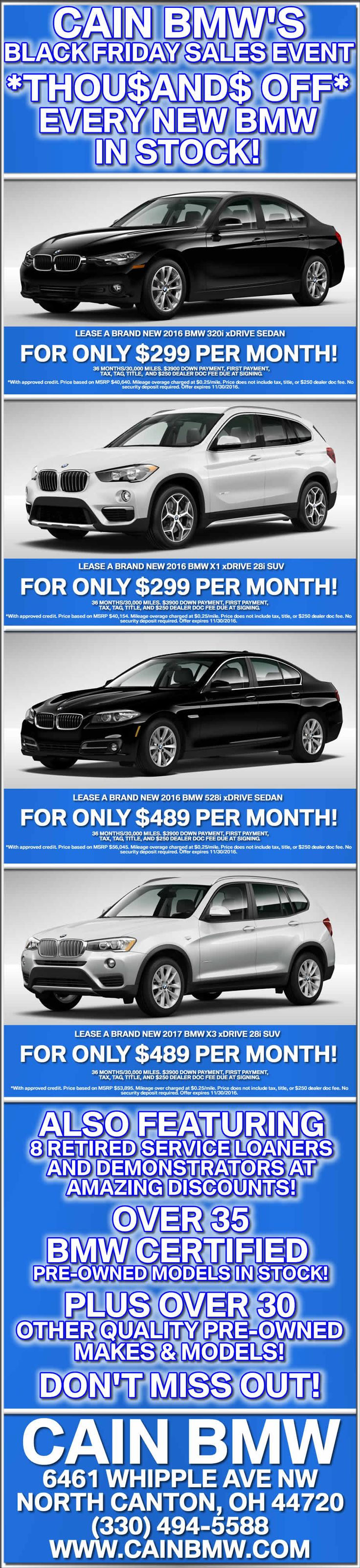 Our #BlackFriday event is on! Stop in this weekend & save big $$ on new #BMW models, Demos & Courtesy Vehicles, Certifed Pre-Owned vehicles, and more! 11/25-11/30/16 only!