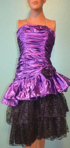 80s Awesome Vintage Purple Metallic Amp Lace Party Prom