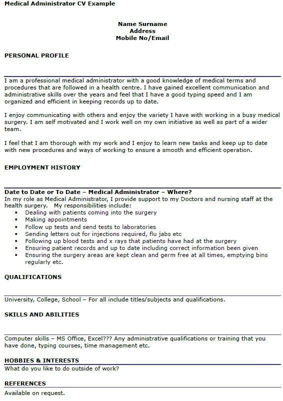 Administrator Cv Hoyukwesternscandinavia Template Medical Resume Uk Personal Statement