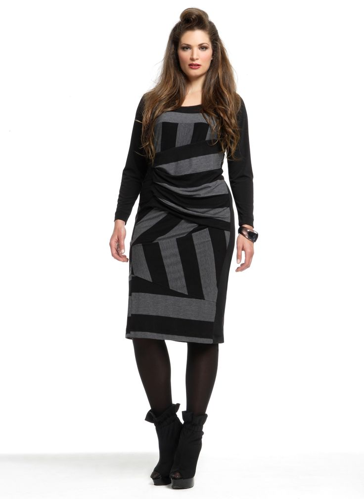 Jurk Mat brede streep/ draperie tail::jurken::Grote maten - mode online | Gratis verzendig | Bagoes fashion