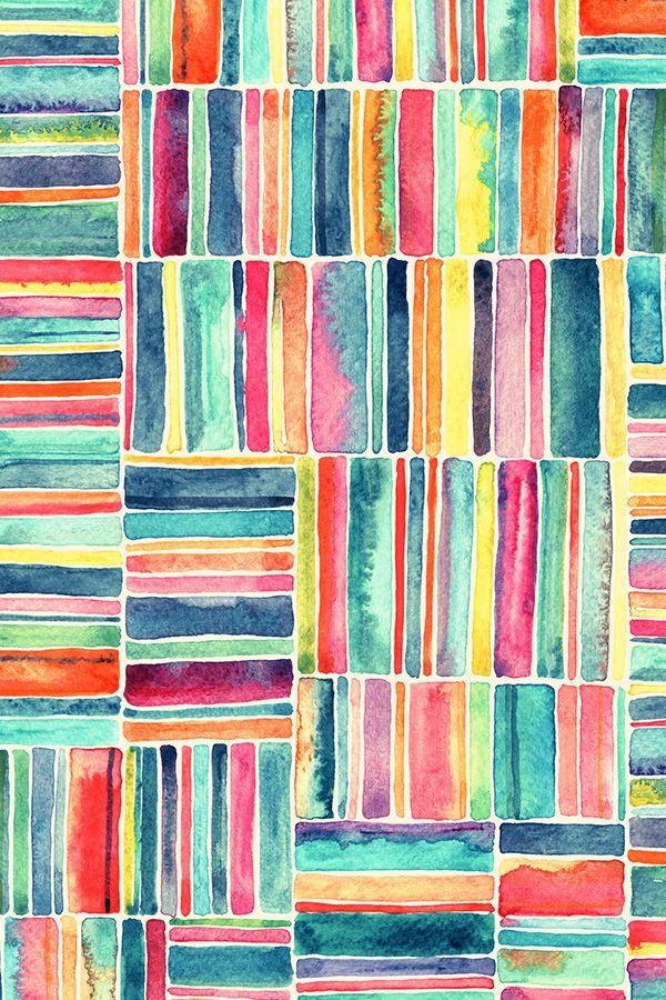 Retro Beach Chair Watercolor Stripes on Cream Watercolor