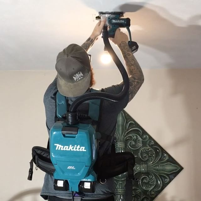 The Makita 18v Drywall Cutout tool and X2 18v Backpack Vac in action. No dust to be found at all. No cords either. This is perfect for doing any kind of access holes or demo work in occupied spaces, especially ceiling work on a ladder or scaffold. At first we thought the vac didn't have enough suction but it's perfect for this kind of work. The bag does fill quick but that's the only fall back of the unit. The Drywall cutout tool is perfect. The clear lens cover does get dusty quick and…