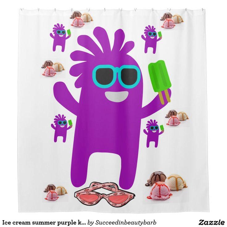 Ice cream summer purple kids shower curtains white