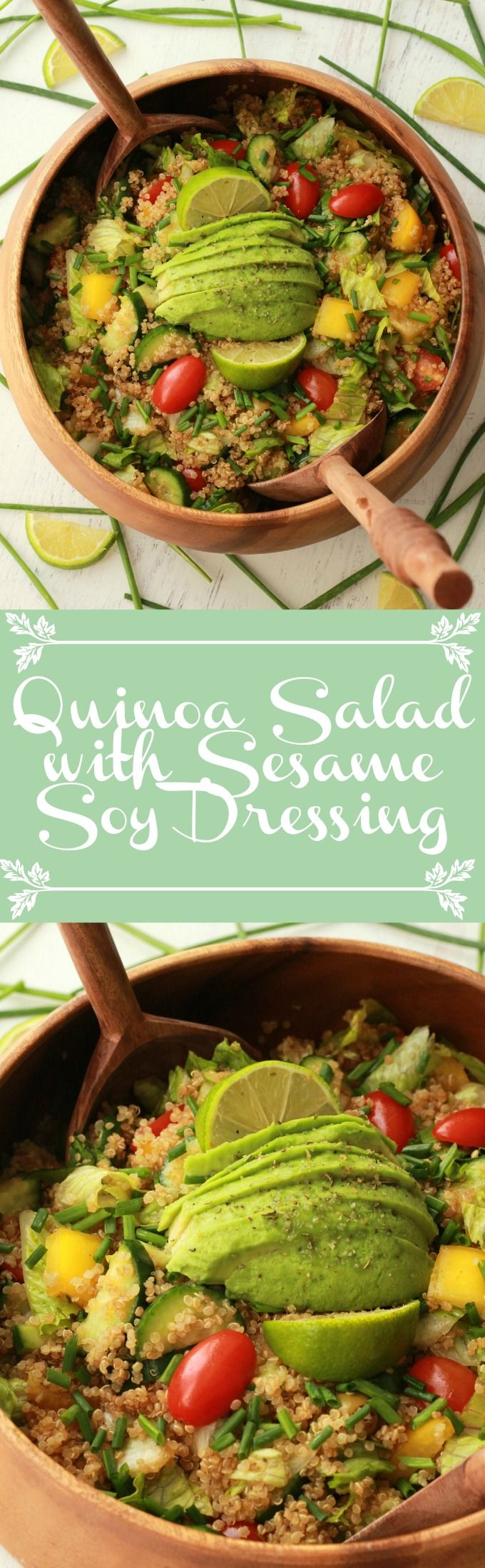 Fabulously healthy Quinoa Salad with Sesame Soy Dressing. Vegan and Gluten-free! Vegan | Gluten-Free | Vegan Food | Vegan Recipes | Vegan Salad