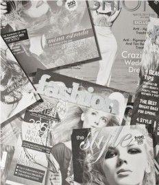 zwart wit tijdschrift behang, leuk voor een meidenkamer