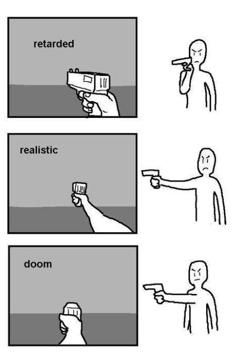 Doesn't matter. Still pew pew. First person shooter. Doom.