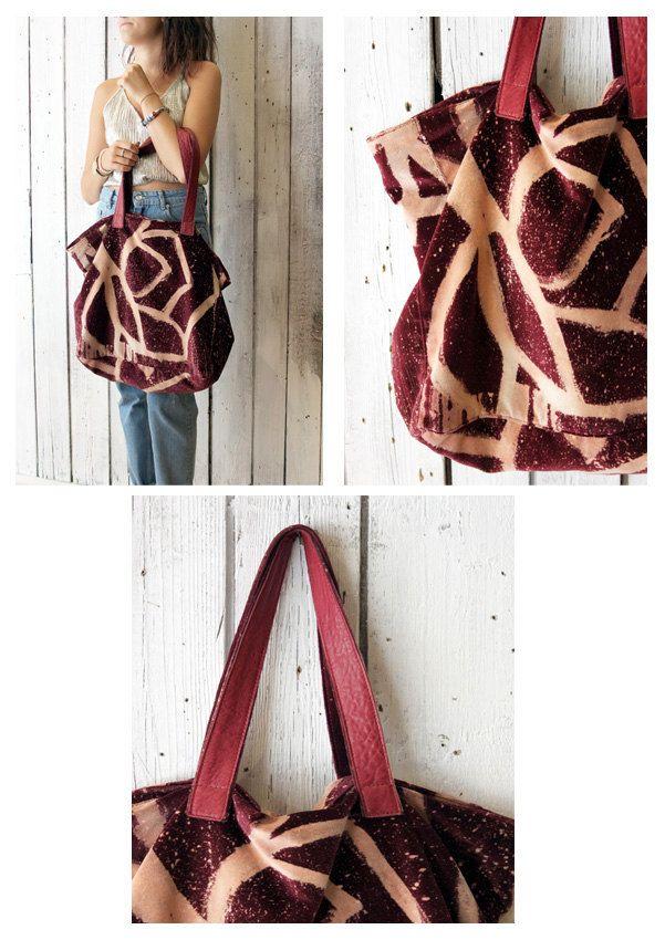 VELLUTO BAG Handpainted velvet & Leather Shopping bag di LaSellerieLimited…