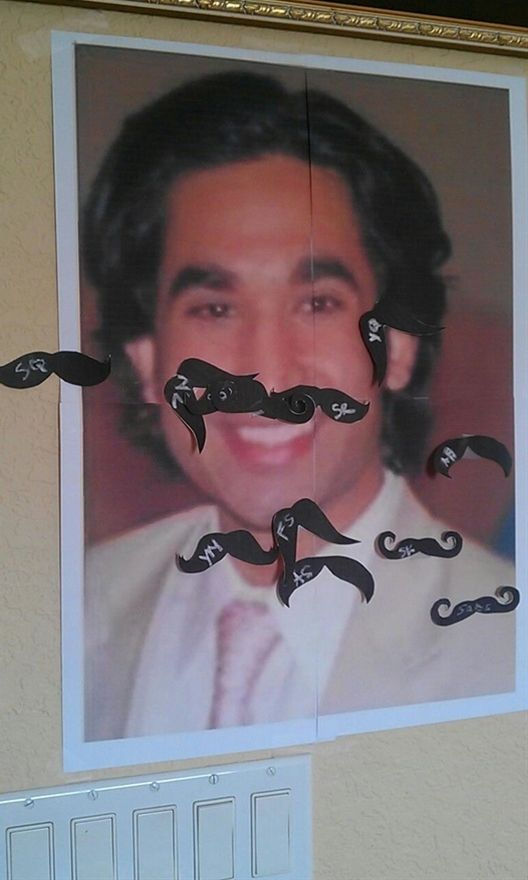 Bridal Shower Game-- Pin the Mustache on the Groom.