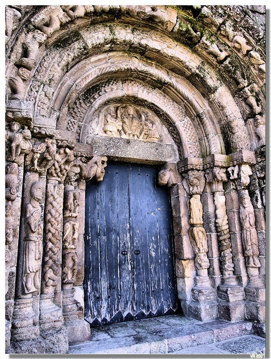 Romanesque door of Bravaes monastery (Ponte da Barca / Portugal)