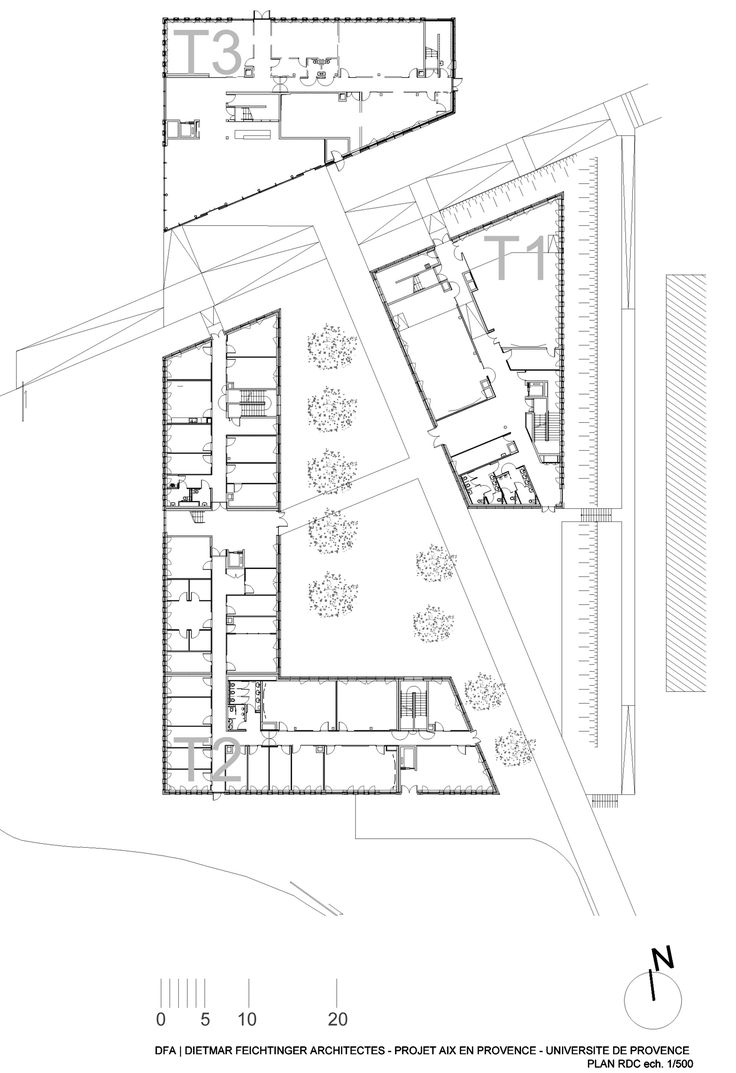 Image 35 of 51 from gallery of Université de Provence in Aix-en-Provence Entension / Dietmar Feichtinger Architects. Ground Floor Plan