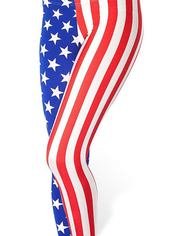Cute Womens Striped Star American Flag Print Low Rise Stretch Leggings
