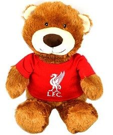 Liverpool FC Medium Teddy Bear, this is an official LFC product , the Liverpool crest is on his t shirt, we have other Liverpool bears at Soccer Box, see http://www.soccerbox.com/liverpool-football-shirts/liverpool-souvenirs/