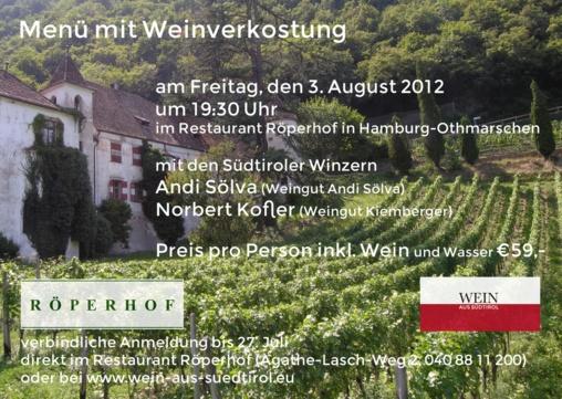 Weinverkostung mit Andi Sölva und Norbert Kofler