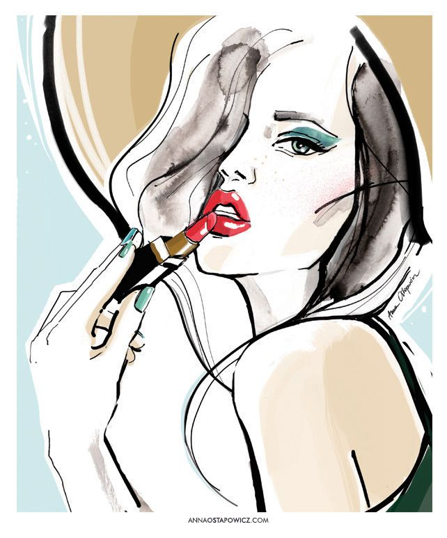 ©annaostapowicz.com, #illustration, #harpersbazaar, #fashionillustration, #beauty, #makeup #annaostapowicz