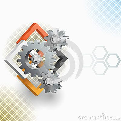 Abstract arrangement with gear and squares