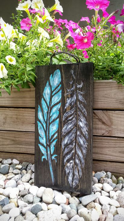 """Feather Sign, Teal and Black Feather Sign, Rustic Feather Sign Sign, Feather Home Decor, Feather Wall Art 14.5"""" x 7"""" - pinned by pin4etsy.com"""
