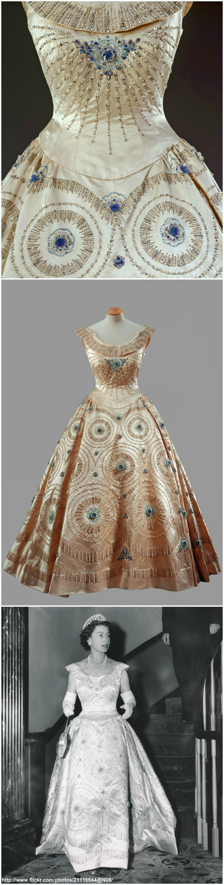 "Cream crinoline gown with blue embroidery, by Norman Hartnell. Worn by Queen Elizabeth II during the Tour of Canada and the United States of America, October 1957. The Royal Collection © 2008, Her Majesty Queen Elizabeth II. Black-and-white photo ""Queen Elizabeth in Williamsburg, dated October 16, 1957: Queen Elizabeth attends dinner at the historical old Williamsburg Inn, USA /original photo (via romanbenedikhanson on Flickr). CLICK THROUGH FOR LARGER IMAGES."