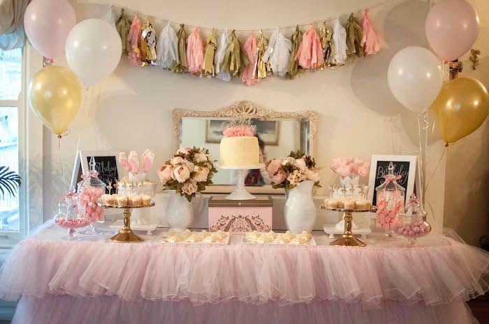 Pink and Gold Ballerina birthday party via Kara's Party Ideas KarasPartyIdeas.com Cake, decor, printables, cupcakes, favors, and more! #ballerinaparty #ballerina #pinkballerina (8)