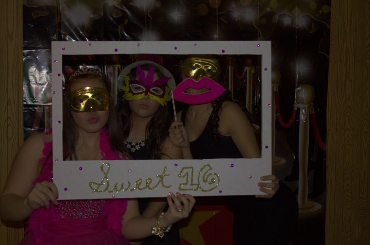 homemade photo booth foam lips hats masks mustaches boas sweet 16 frame disposable cameras hollywood back drop pinterest homemade sweet and