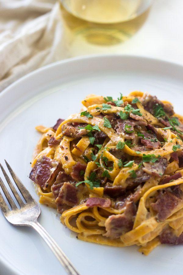 Sweet Potato and Goat Cheese Carbonara...I want to try this with spirilized sweet potato