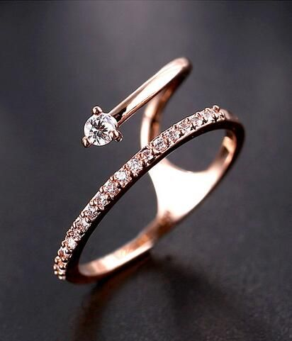 chic rose gold CZ fashion ring