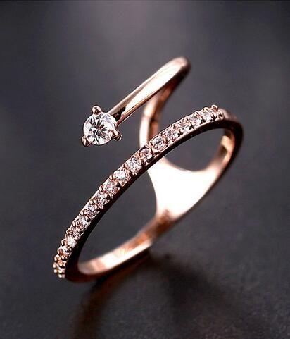 chic rose gold CZ fashion ring