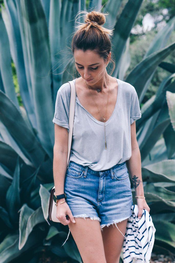 Paige Denim High Rise Jean Shorts & Vintage Tee Prosecco & PLaid
