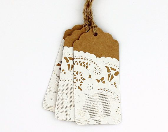 Paper doily scalloped kraft tags strung with jute twine - set of 12