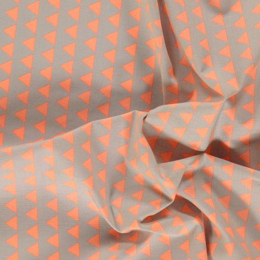 Cotton grey w coral triangles - Stoff & Stil