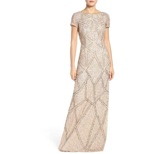 Women's Adrianna Papell Embellished Mesh Gown (€325) ❤ liked on Polyvore featuring dresses, gowns, champagne, champagne sequin dress, champagne evening gown, beaded evening gowns, champagne evening dress and asymmetrical dress