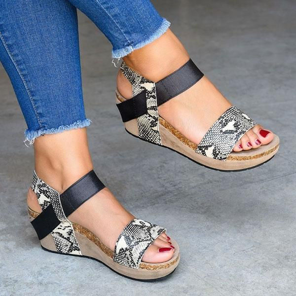 Details about  /Women's New Fashion Round Toes Wedge Heels Platform Sandals PU Casual Shoes