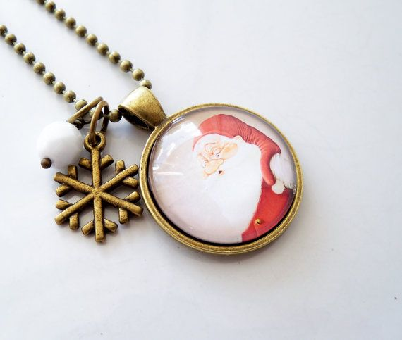 Santa Necklace Santa Claus Christmas Jewelry St by OxfordBright