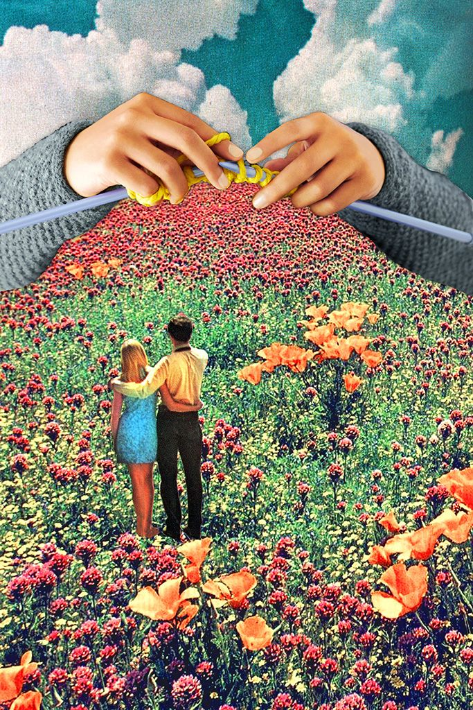 """Neat Knitting"" - a surreal collage by Eugenia Loli. More details at KnitHacker ... follow Loli's work on Insta @eugenia_loli #knitting #art"