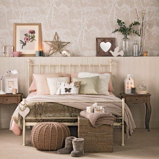 Create a cosy retreat with a colour palette of warm blush, taupe and cream, with touches of rustic wood and chunky knits. via Ideal Home Magazine/Facebook