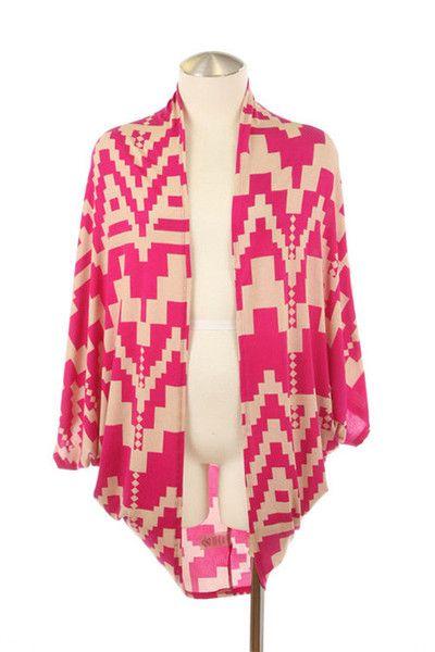 Peace Treaty Aztec Print Kimono - Magenta