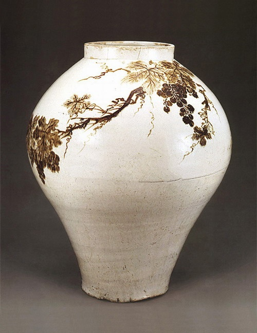 Choson period white porcelain jar with iron-glaze decoration of grapes...absolutely stunning.