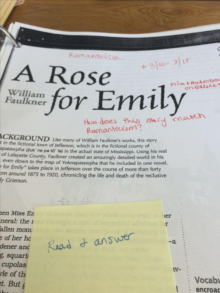analysis of a rose for emily In william faulkner's short story a rose for emily, the titular emily lives with a   after her father dies, emily finds a suitor of her own, though their story does not   symbolism in ghosts by ibsen literary analysis of the theme in the.