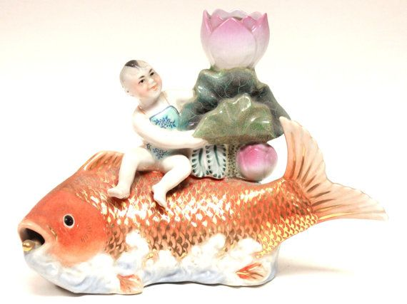 Fish decor baby decor good luck chinese porcelain koi for How to make fish in little alchemy