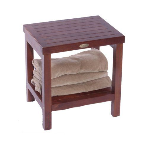 Decoteak Classic Teak Spa Shower Stool with Shelf - No Arms - Shower Seats at Hayneedle