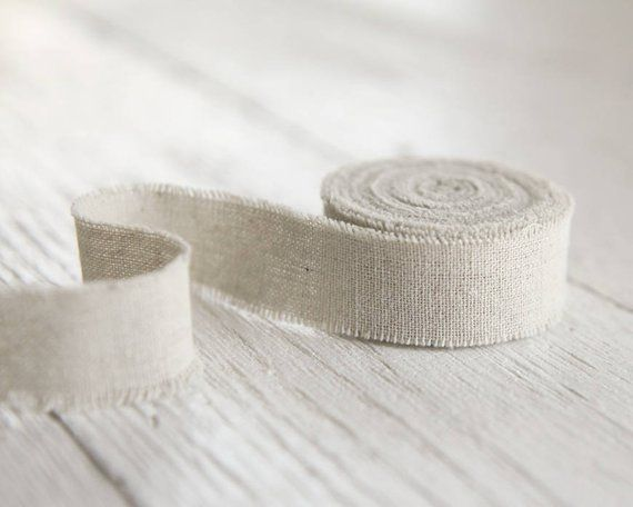 Rustic Linen Ribbon 1 Frayed Edge Fabric Ribbon Roll Etsy Linen Ribbon Rustic Linen Fabric Ribbon