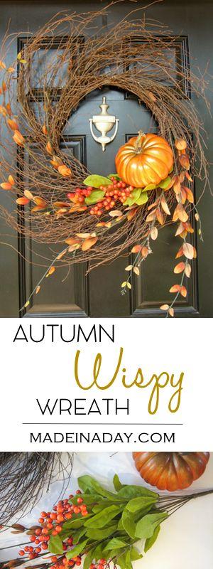 Autumn Wispy Wreath Tutorial, See how I take one wispy wreath and use it for all the fall to winter holidays! Fall wreath, pumpkin wreath, fall foliage, wispy wreath via @thelovelymrsp