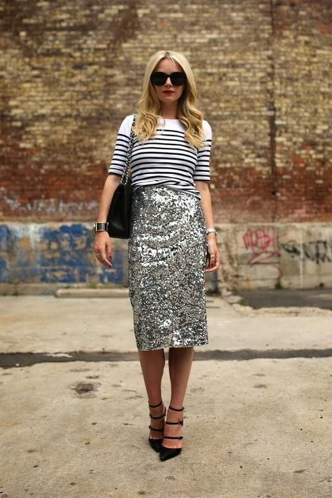 Give the sequin pencil skirt some French girl style. Copy Blair Eadie and tuck a striped shirt in. Click for more outfit ideas!