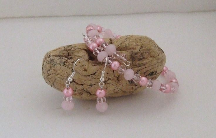 Pretty in Pink Crystal, Pearl and Pewter Bracelet and Earring Set.  $30