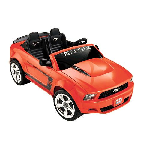 Power wheels boss mustang 302 12 volt ride on orange red for Fisher price motorized cars