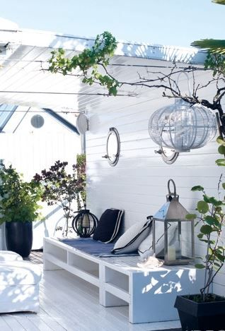 All white Outdoor patio